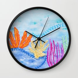 embroidered Coral Reef Wall Clock