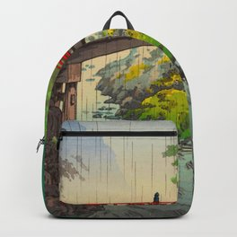 Vintage Japanese Woodblock Print Garden Red Bridge River Rapids Beautiful Green Forest Landscape Backpack