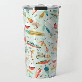 Fishing Lures Light Blue Travel Mug