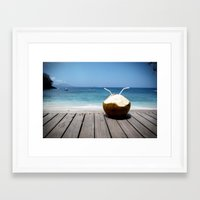 coconut wishes Framed Art Prints featuring Coconut by M Paris