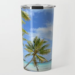 Tropical palm beach in the Pacific Travel Mug
