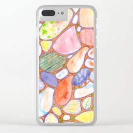Friendly Colorful Pebbles Pattern Clear iPhone Case