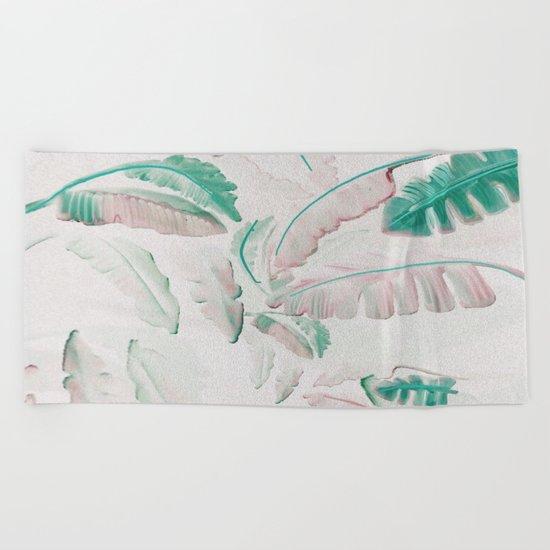 Watercolor banana leaf pattern Beach Towel