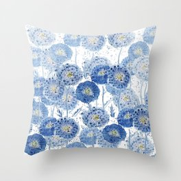 blue indigo dandelion pattern watercolor Throw Pillow