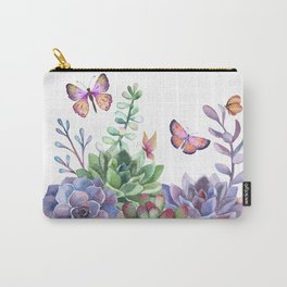 A Splendid Secret Succulent Garden With Butterfly Visitors Carry-All Pouch