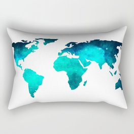 World Map Space Galaxy Stars in Turquoise Rectangular Pillow