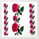 PATTERNED DECORATIVE RED ROSES  WHITE ART by sharlesart