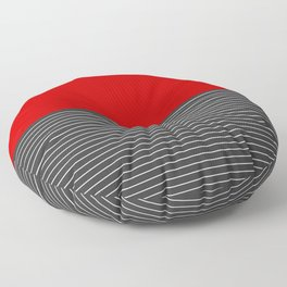 Half thin striped red Floor Pillow