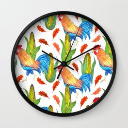 Thanksgiving Rooster and Corn Wall Clock