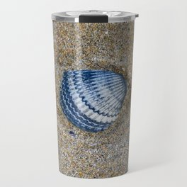INDIGO COCKLE SHELL ON SAND Travel Mug