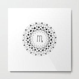Scorpio Zodiac Mandala Metal Print