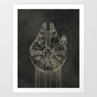 Art Prints featuring Millennium Falcon by LindseyCowley
