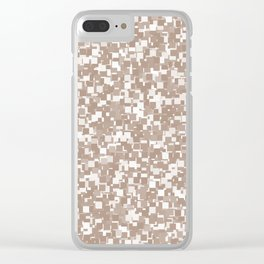 Warm Taupe Pixels Clear iPhone Case