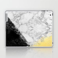 Marble with Black & Gold - gold foil, gold, marble, black and white, trendy, luxe, gold phone Laptop & iPad Skin