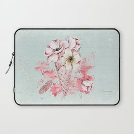 Pink & Teal Summer Fun Flower Ice Cream Waffle -Illustration Laptop Sleeve