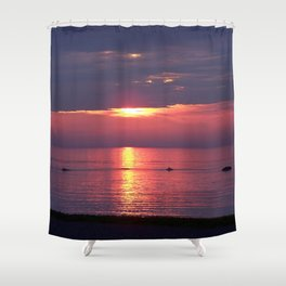 Holes in the Clouds, sunset on the water Shower Curtain