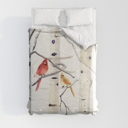 Birch Trees and Cardinal Comforters