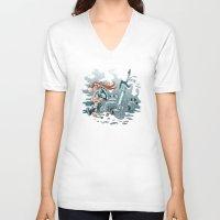 cyberpunk V-neck T-shirts featuring Cyberpunk Beat Down by Dooomcat