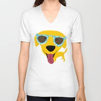 labrador V-neck T-shirts featuring Labrador dog - Sunglasses by Verene Krydsby