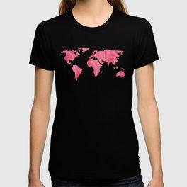 World Map Pink Watercolor T-shirt