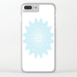 Moonlight Blue Mandala Bohemian Decor Medallion Clear iPhone Case