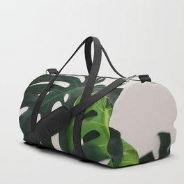 Minimalist Mid Century Scandinavian Style House Plant Mostera Green Leaf Zen Photo Duffle Bag