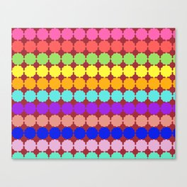 Stylized round multi-colored flowers (red background) Canvas Print