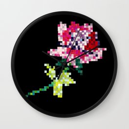 Pixel Rose on Black Wall Clock