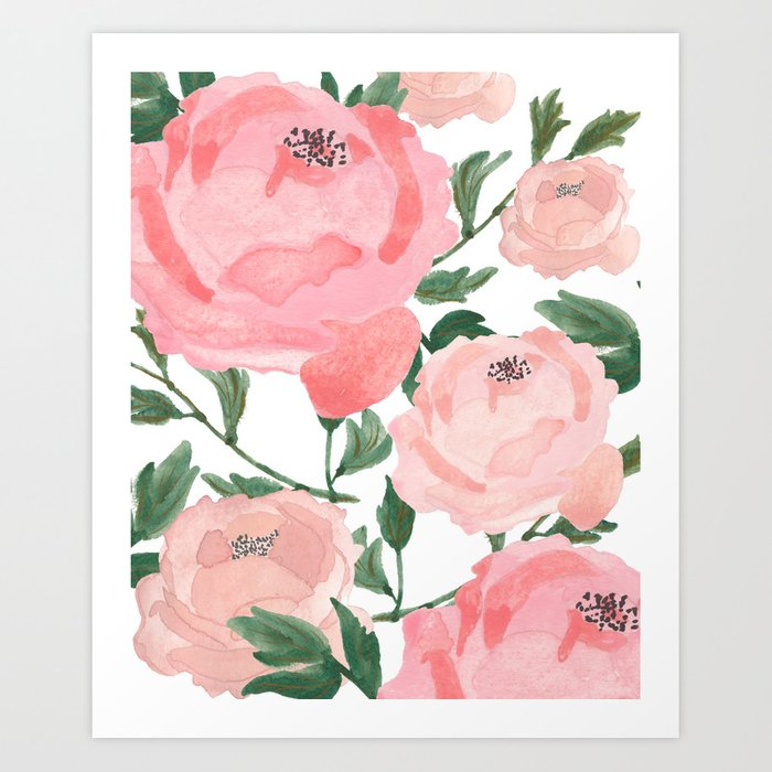 Peony Watercolor Collage Kunstdrucke