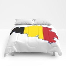 Belgium Map with Belgian Flag Comforters