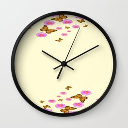 SCATTERED  PINK WILD ROSES  MONARCH BUTTERFLIES Wall Clock