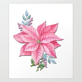 Womens Christmas Magical Winter Flowers Art Print