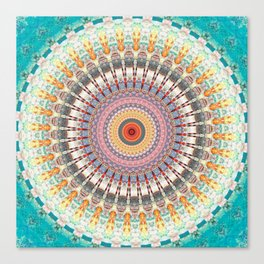 Teal Orange Yellow Boho Mandala Canvas Print