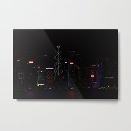 Hong Kong, Light Show Metal Print