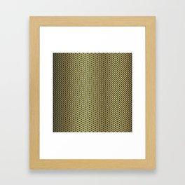 Gold Black and White Herringbone Pattern Framed Art Print