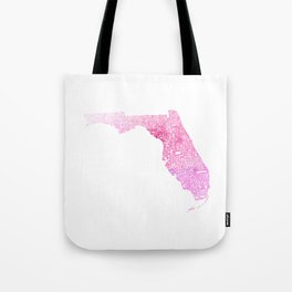 Typographic Florida - pink watercolor Tote Bag