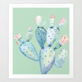 Rose Desert Cactus Light Mint Green by Nature Magick Art Print