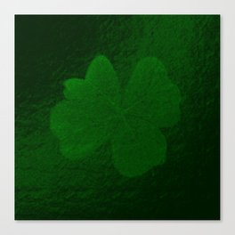 with a small brush shiny green shamrock Canvas Print