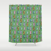 animal crossing Shower Curtains featuring Animal Crossing Design 3 by Caleb Cowan