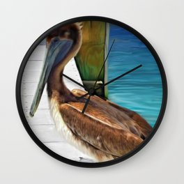 Dockside Pelican by Barbara Chichester Paintographer Wall Clock
