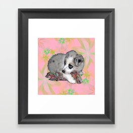fluffy puppy on flower background Framed Art Print