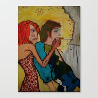 cigarette Canvas Prints featuring cigarette by Samantha Sager
