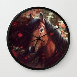 Pegasus and Roses Wall Clock