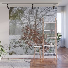 Foggy Oaks. Snowing Into The Woods Wall Mural