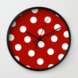 Polka Dots - Mordant Red and White Wall Clock