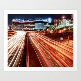 Mile High Football - Denver Stadium and City Architecture Art Print
