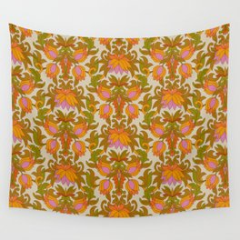 Orange, Pink Flowers and Green Leaves 1960s Retro Vintage Pattern Wall Tapestry