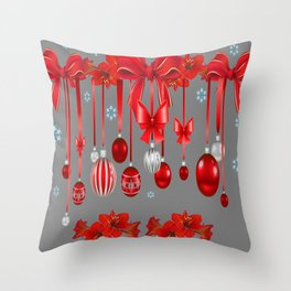 RED CHRISTMAS ORNAMENTS & SNOW FLAKES  ART Throw Pillow
