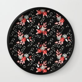 Red and Gray Daisy Florals Wall Clock