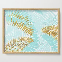 Aloha - Tropical Palm Leaves and Gold Metal Foil Leaf Garden Serving Tray